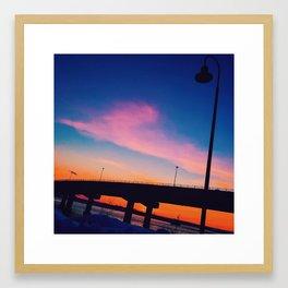 Casco Bay Bridge Sunset Silhouette Framed Art Print