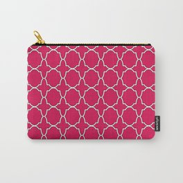 Ruby Red Quatrefoil Pattern Carry-All Pouch