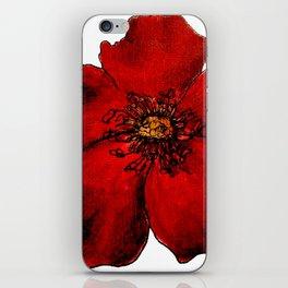 Red Winter Rose Transparent iPhone Skin