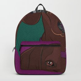 Icons of the Dog Park: Dachshund Design in Bold Colors for Pet Lovers Art Print Backpack