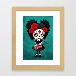 Day of the Dead Girl Playing Union Jack British Flag Guitar Framed Art Print