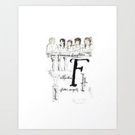 ABCs of Pride and Prejudice F Art Print