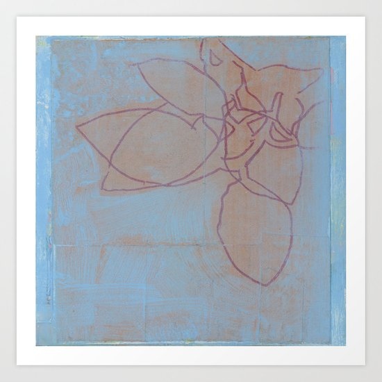 Leaves in Blue II Art Print