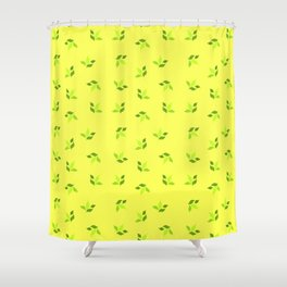 simple floral leaves seamless pattern 01 intensive green Shower Curtain