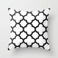 Black Quatrefoil Throw Pillow