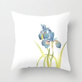 Watercolor flower Iris Siberica Throw Pillow