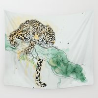 leopard Wall Tapestries featuring Leopard by Bella Jansen