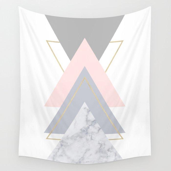 Blush Marble Gray Gold Geometric Pattern Wall Tapestry