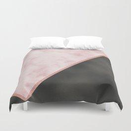 Sivec Rosa marble - black leather Duvet Cover