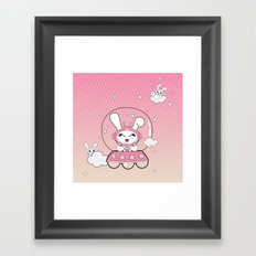 Space Bunny Flying Framed Art Print