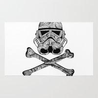 saga Area & Throw Rugs featuring Skulltrooper by Ismael Sandiego