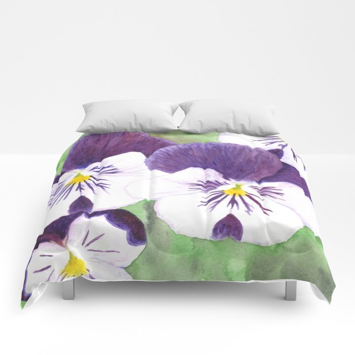 Purple and white pansies flowers Comforters