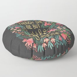 Little & Fierce on Charcoal Floor Pillow