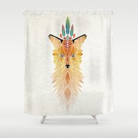 spirit Shower Curtains featuring fox spirit  by Manoou