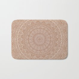 The Most Detailed Intricate Mandala (Brown Tan) Maze Zentangle Hand Drawn Popular Trending Bath Mat
