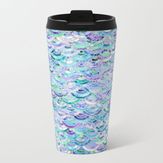 Marble Mosaic in Sapphire and Emerald Metal Travel Mug