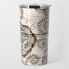 Coffee & Cocoa - brown & cream floral doodles on wood Travel Mug
