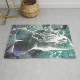 Sugar Coated Sour: Negative (nude curvy pin up with butterflies) Rug