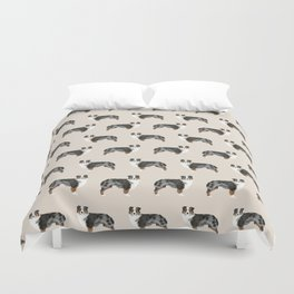 Australian Shepherd owners dog breed cute herding dogs aussie dogs animal pet portrait hearts Duvet Cover