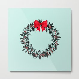 Christmas Wreath with Red Bow #Christmas #holidays Metal Print