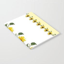 LINEAR YELLOW SUNFLOWERS GREY & WHITE ART Notebook