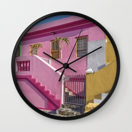Colorful houses in Bo-Kaap, Cape Town, South Africa Wall Clock