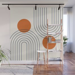 Mid Century Modern Geometric 88 in Navy Blue and Orange (Rainbow and Sun Abstraction) Wall Mural