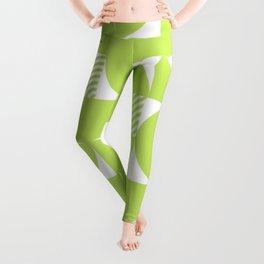 Lime Green Mid Century Bauhaus Semi Circle Pattern Leggings