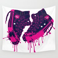 sneakers Wall Tapestries featuring Love my dirty sneakers by Cindys