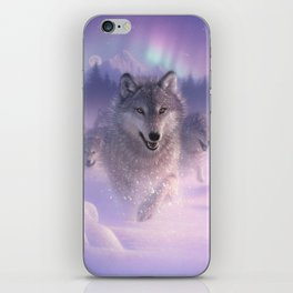 Wolf Pack Running - Northern Lights iPhone Skin