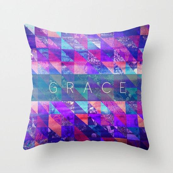 "2 Corinthians 12:9 ""Grace"" (purple triangles) Throw Pillow"