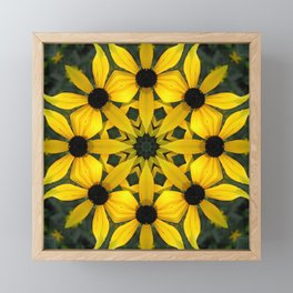 Black-eyed susan kaleidoscope, mandala Framed Mini Art Print