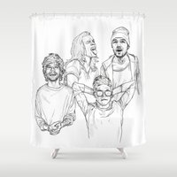 one direction Shower Curtains featuring One Direction by Cécile Pellerin