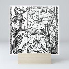 Daffodils Ink Drawing Art Mini Art Print