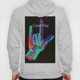ASL I LOVE YOU - on Black Hoody