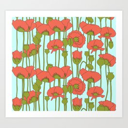 poppies in coral on turquoise Art Print