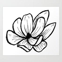 Magnolia Modern Floral Line Art Drawing Art Print