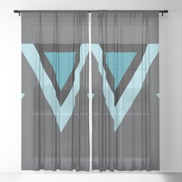 Geometric Triangles Design Turquoise I Sheer Curtain