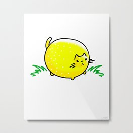 Sourpuss- Bitter Lemon Kitty Cat Metal Print