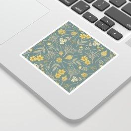 Yellow, Cream, Gray, Tan & Blue-Green Floral Pattern Sticker