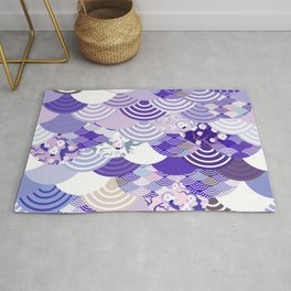 Nature background with japanese sakura flower, Cherry, wave circle. Ultra Violet Color of the Year Rug