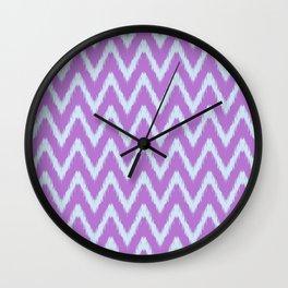 Violet and Blue Ikat Chevron Pattern Wall Clock