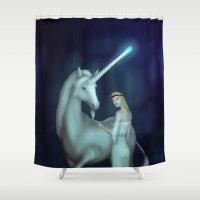 unicorn Shower Curtains featuring Unicorn by Egberto Fuentes
