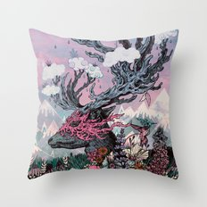Journeying Spirit (deer) sunset Throw Pillow