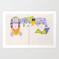 Heads, Hairs and Eyes Art Print