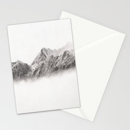 mountain range pencil art Stationery Cards