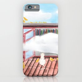 Watercolor Illustration of a boy playing with cats on the roof iPhone Case