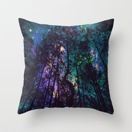 Black Trees Colorful Teal Space Throw Pillow
