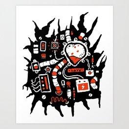inside, robot, microcircuits, radio components humor,2 Art Print