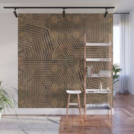 Geometric Wooden texture pattern Wall Mural